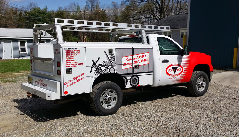 Utility Body Signs : Tri state dock and door vehicle wrap gravity